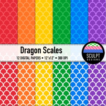 Digital Paper ~ Dragon Scales ~ Bold Colors