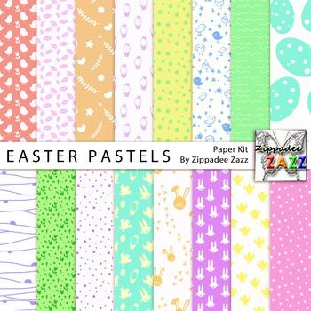 Easter Pastels Spring Digital Paper or Backgrounds
