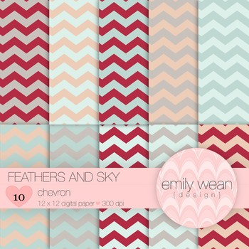 Feathers and Sky - Digital Paper - Chevron Background