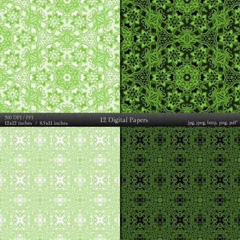 Digital Paper Floral A4 12x12 + 8.5x11 Inch Henna Retro Textile Collag Abstract
