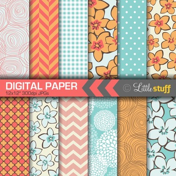 Digital Paper, Floral Digital Paper, Pretty Digital Paper, Blue and Coral