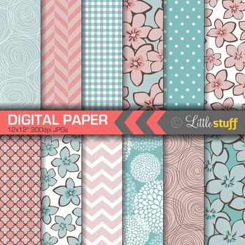 Digital Paper, Floral Digital Paper, Pretty Digital Paper, Pink and Blue