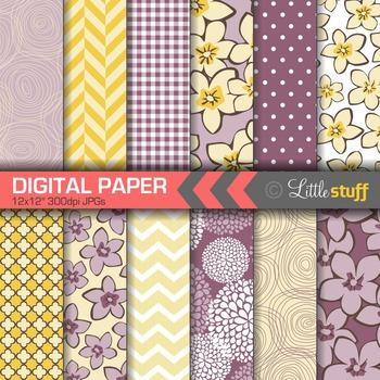 Digital Paper, Floral Digital Paper, Pretty Digital Paper, Purple & Yellow