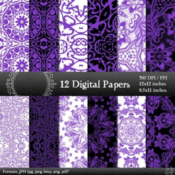 Digital Paper Flower Abstract Indian Printable Set Scrapbooking Variety Album A4