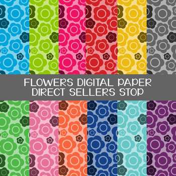 Digital Paper Flowers Background in Multi Color Clip Art