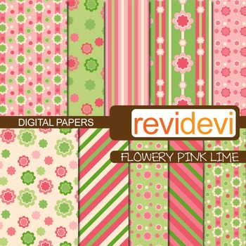 Digital Paper Flowery Pink Lime (printable patterned papers)