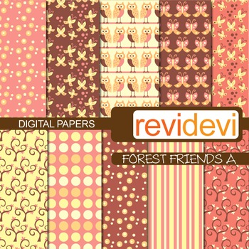 Digital Paper Forest Friends A (owls, butterflies, trees) patterned background