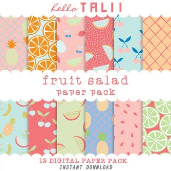 Digital Paper: Fruit Salad Digital Paper