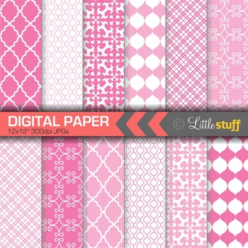 Digital Paper, Geometric Digital Paper Pack, Pink Digital Papers