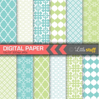 Digital Paper, Geometric Digital Paper Pack, Turquoise Blue & French Green