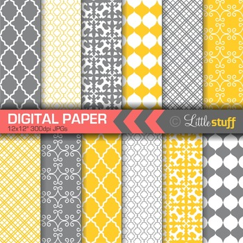 Digital Paper, Geometric Digital Paper Pack, Yellow and Gray Digital Papers