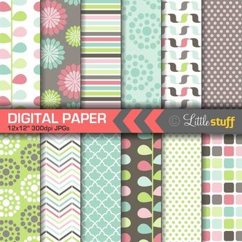Digital Paper, Geometric Patterns, Digital Backgrounds, Pink, Mint, Aqua