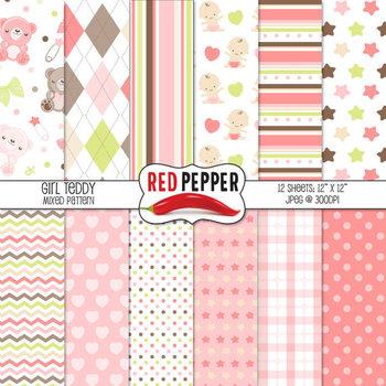 Digital Paper / Patterns - Girl Teddy