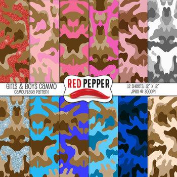 Digital Paper / Patterns - Girls & Boys Cammo