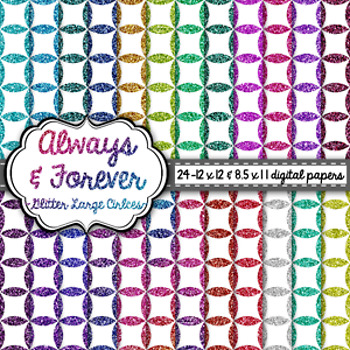 Digital Paper Glitter Large Circles