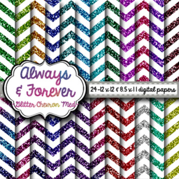 Digital Paper Glitter Medium Chevron