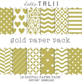 Digital Paper: Gold Paper Pack