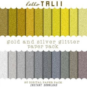 Digital Paper: Gold and Silver Glitter