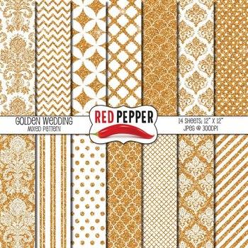 Digital Paper / Patterns - Golden Wedding
