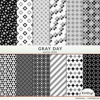 "Digital Paper - ""Gray Day ""  Black White & Gray"