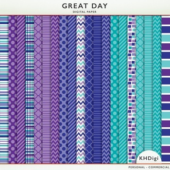 "Digital Paper - ""Great Day"" Blue & Purple"