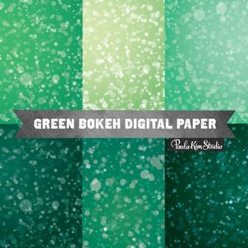 Digital Paper - Green Bokeh