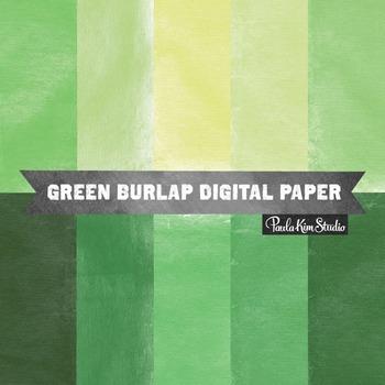 Digital Paper - Green Burlap