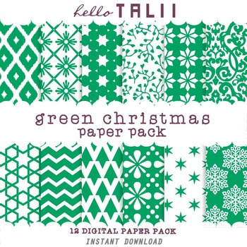 Digital Paper: Green Christmas Paper Pack
