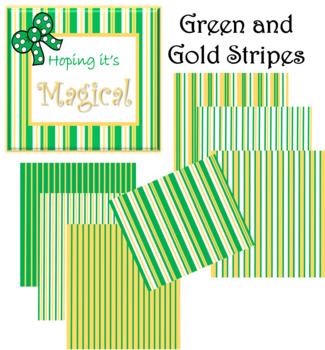 Digital Paper Green and Gold Stripes