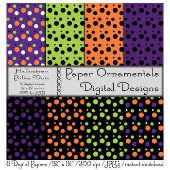 Digital Paper:  Halloween Polka Dots