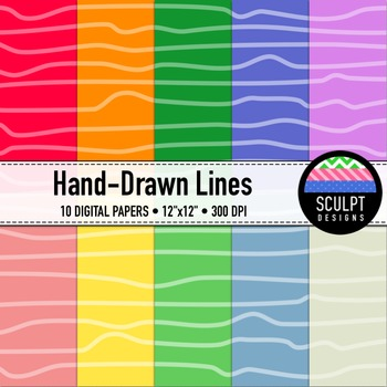Digital Paper ~ Hand-Drawn Lines ~ Ten Colors