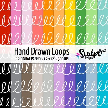 Digital Paper ~ Hand Drawn Loops ~ Twenty Colors