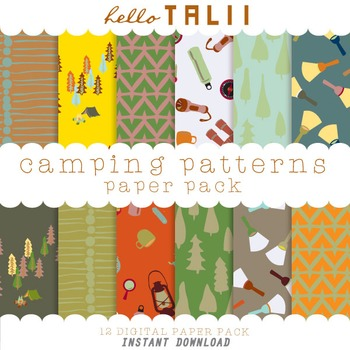 Digital Paper: Happy Camper Patterns