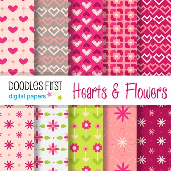 Digital Paper - Hearts & Flowers great for Classroom art projects
