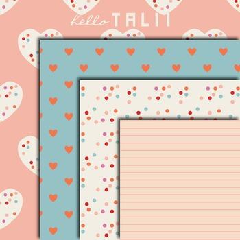 Digital Paper: Hearts and Confetti