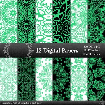 Digital Paper Henna Ornate Album Retro Embroidery A4 Corner Texture Art Abstract