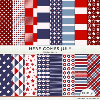 """Digital Paper - """"Here Comes July """"  Red White & Blue"""
