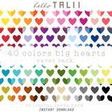 Digital Paper: Huge Hearts- Colored, gold and silver hearts