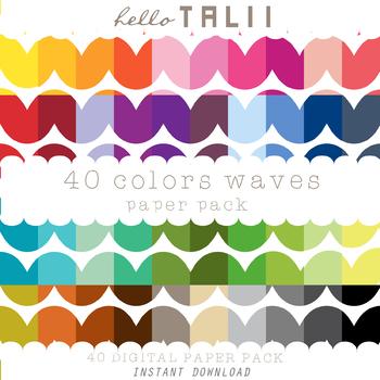 Digital Paper: Huge Waves Pattern + Gold and Silver Waves