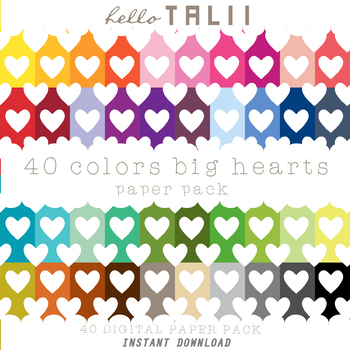 Digital Paper: Huge White Hearts in Colorful Backgrounds