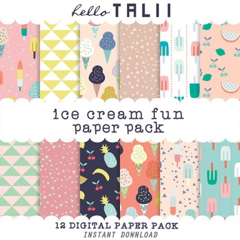 Digital Paper: Ice Cream Fun
