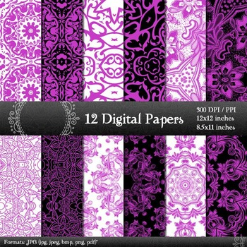 Digital Paper Indian Flower Style Scrapbook Sheet Printable  Decoration Jpg Jpeg