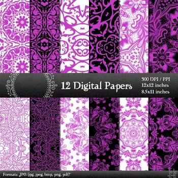 Digital Paper Indian Flower Style Scrapbook Sheet Printabl