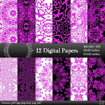 Digital Paper Indian Page Lot Cover Background Sheet Retro Fabric Kit Card Henna
