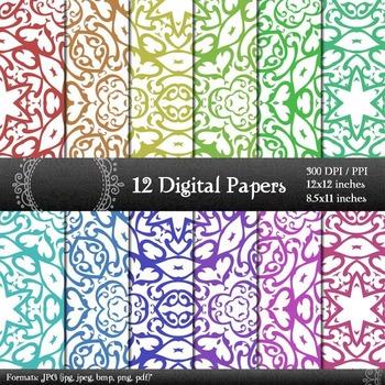 Digital Paper Instant Download Scrapbook Template Clip Page Jpeg Set Pack Corner