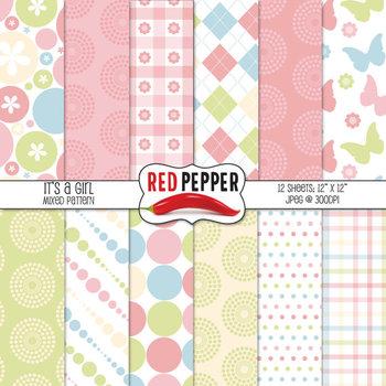 Digital Paper / Patterns - It's a Girl