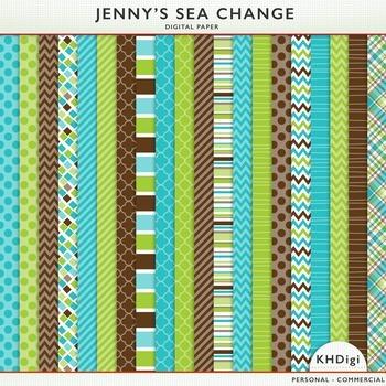 "Digital Paper - ""Jenny's Sea Change"" Blue Green & Brown"