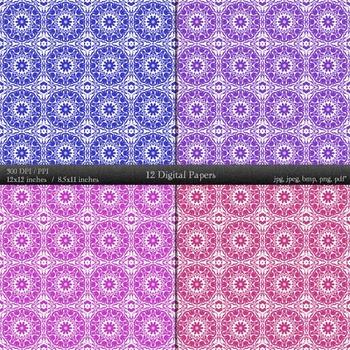 Digital Paper Journal Clip Paper Card Album Piecing 12x12 + 8.5x11 Inch Pattern