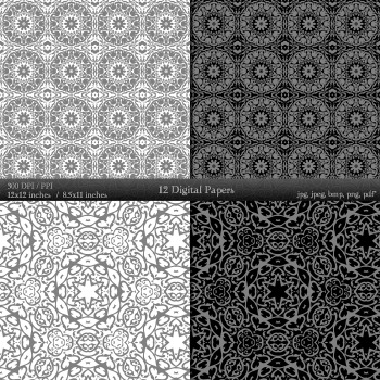 Digital Paper Journal Sheet Scrapbook Layout Kit Style Mandala Printable Fabric