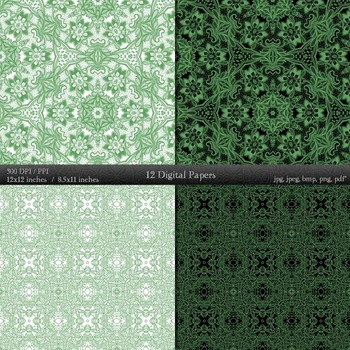 Digital Paper Jpeg Collag 12x12 + 8.5x11 Inch Abstract Sheet Clipart A4 Art Lace